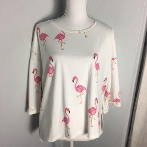 Shein Flamingo Shirt Scuba Material